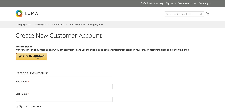 Customer/account/login - Login With Amazon Button